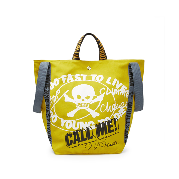Men Vivienne Westwood RUNNER HOLDALL TOO FAST TO LIVE YELLOW Outlet Online