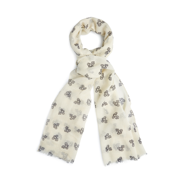 Men Vivienne Westwood NATURAL ORB PRINT SCARF Outlet Online