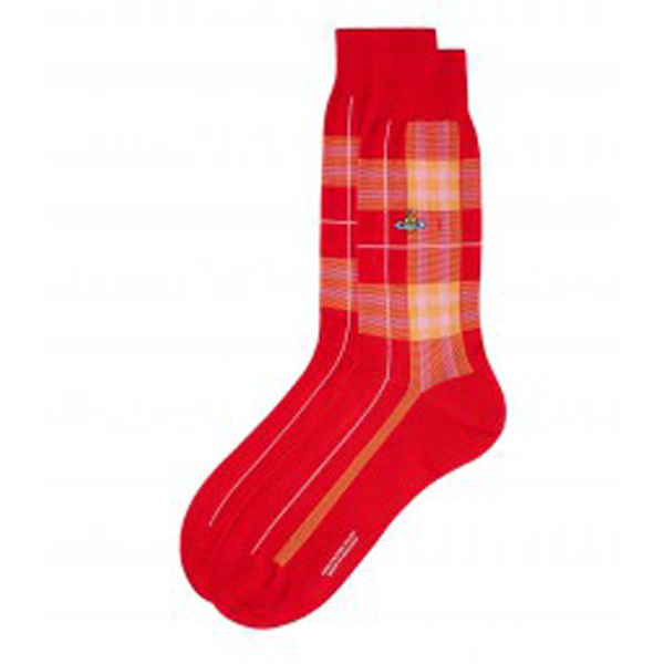 Men Vivienne Westwood RED CHECK SOCKS Outlet Online