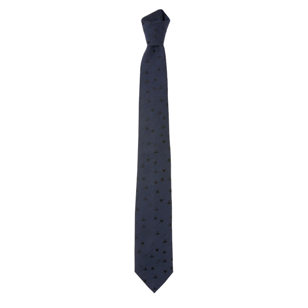 Men Vivienne Westwood DARK BLUE ORBS AND STARS JACQUARD TIE Outlet Online