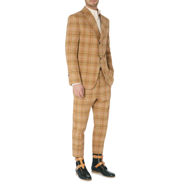 Men Vivienne Westwood PEACOCK JACKET CAMEL CHECK Outlet Online