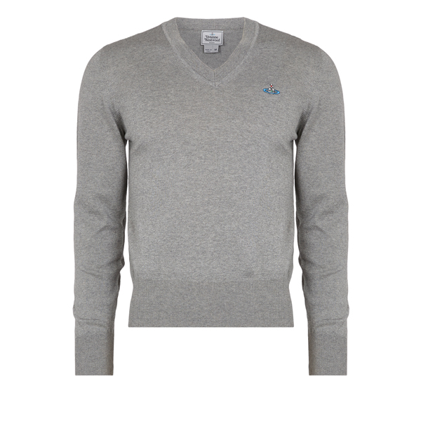 Men Vivienne Westwood CLASSIC V-NECK JUMPER GREY Outlet Online