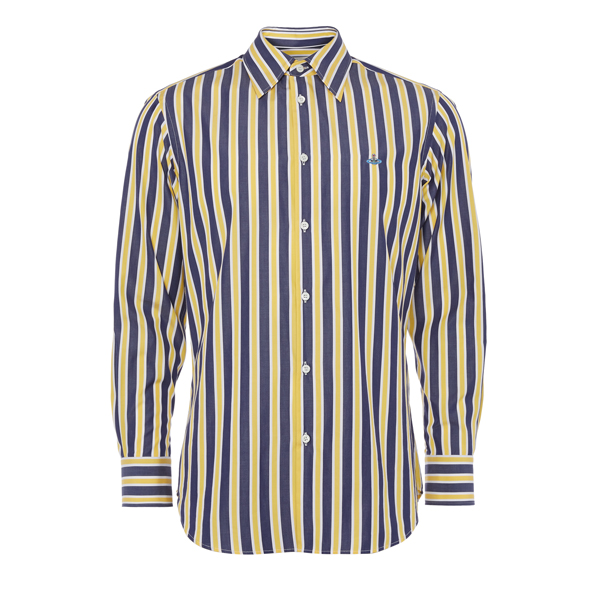 Men Vivienne Westwood CLASSIC CUTAWAY SHIRT BLUE/YELLOW STRIPES Outlet Online