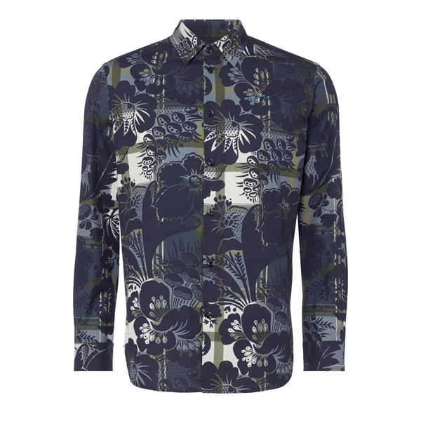 Men Vivienne Westwood PRINTED TWILL CLASSIC CUTAWAY BLUE Outlet Online