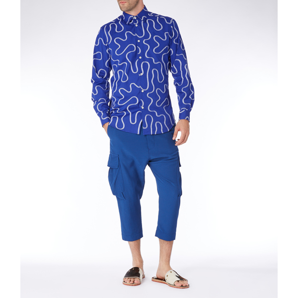Men Vivienne Westwood SQUIGGLE CLASSIC CUTAWAY SHIRT BLUE Outlet Online