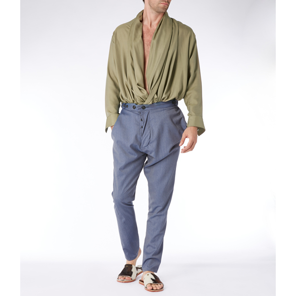 Men Vivienne Westwood SILK GAINSBOROUGH SHIRT GREEN Outlet Online