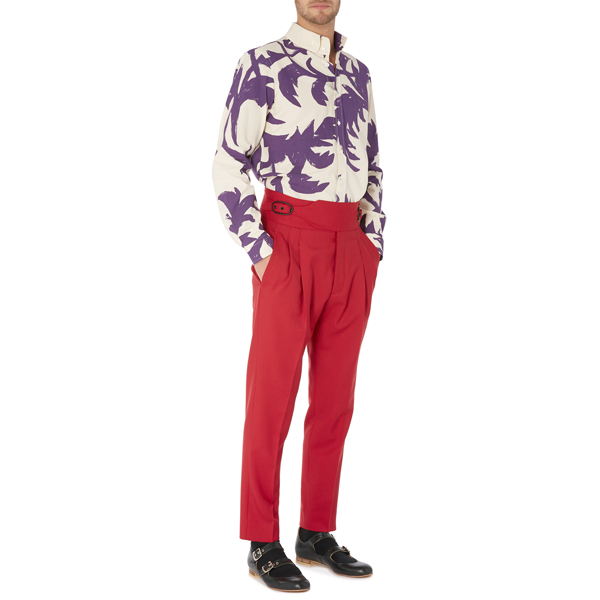 Men Vivienne Westwood TWO BUTTON KRALL SHIRT PURPLE LEAVES Outlet Online