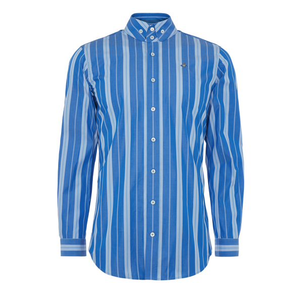 Men Vivienne Westwood TWO BUTTON KRALL SHIRT BLUE STRIPES Outlet Online
