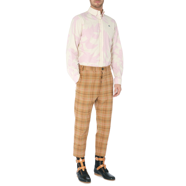 Men Vivienne Westwood TWO BUTTON KRALL SHIRT PINK LEAVES Outlet Online