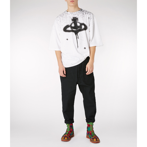 Men Vivienne Westwood WHITE BAGGY T-SHIRT SPRAY ORB Outlet Online
