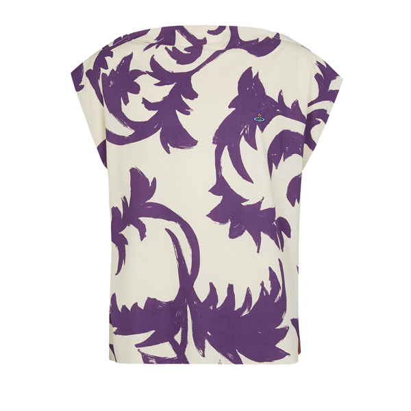 Men Vivienne Westwood SQUARE T-SHIRT PURPLE LEAVES/TOBACCO JERSEY Outlet Online
