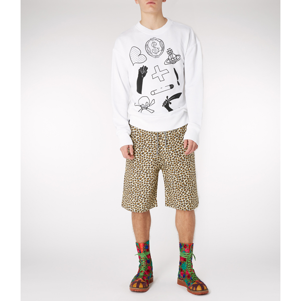 Men Vivienne Westwood WHITE NEWS SWEATER LOGO MIX Outlet Online