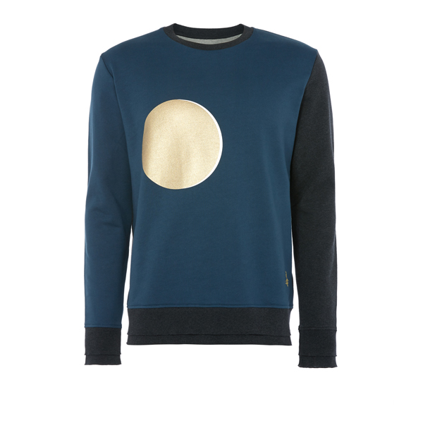 Men Vivienne Westwood CLASSIC ROUND NECK SWEATER PETROL BLUE AND BLACK Outlet Online