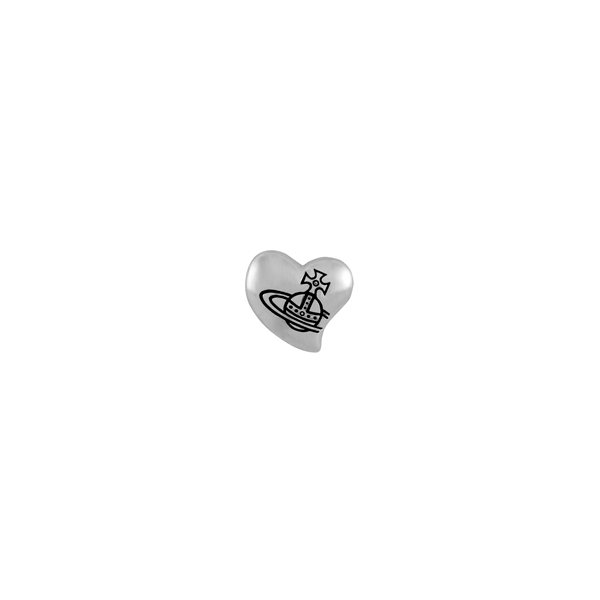 Men Vivienne Westwood CAETANO HEART SINGLE STUD SILVER Outlet Online
