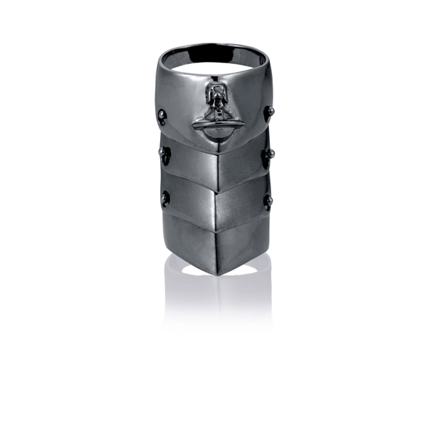Men Vivienne Westwood ARMOUR RING GUNMETAL Outlet Online