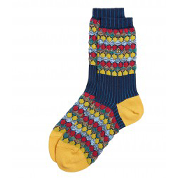 Women Vivienne Westwood TUCK KNIT IKAT NAVY SOCKS Outlet Online