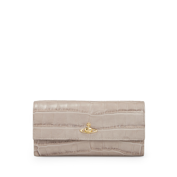 Women Vivienne Westwood ROYAL OAK LONG WALLET 321447 TAUPE Outlet Online