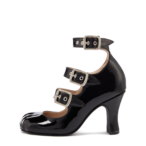 Women Vivienne Westwood ANIMAL TOE 3 STRAP BLACK PATENT Outlet Online