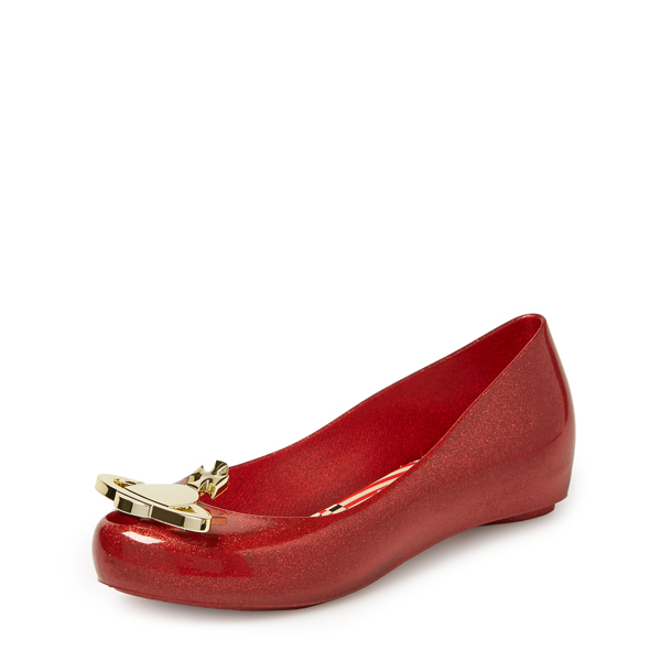 Women Vivienne Westwood ULTRA GIRL XVII RED GLITTER BALLERINAS Outlet Online