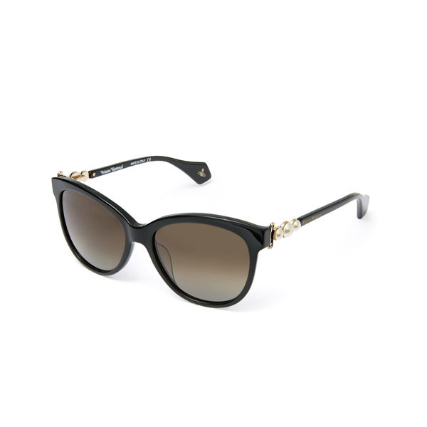 Women Vivienne Westwood PEARLS & PAPER CLIP SUNGLASSES BLACK VW911S01 Outlet Online