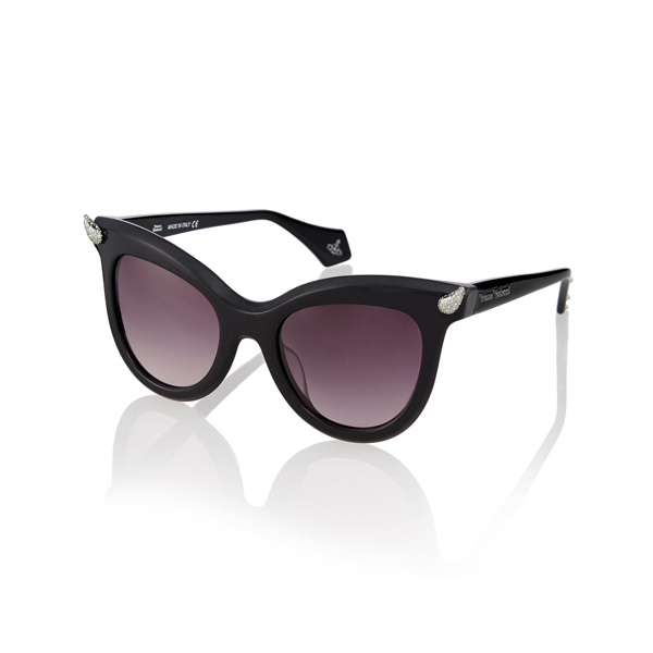 Women Vivienne Westwood BLACK DIAMANTE HORN SUNGLASSES VW871S-1SBL Outlet Online