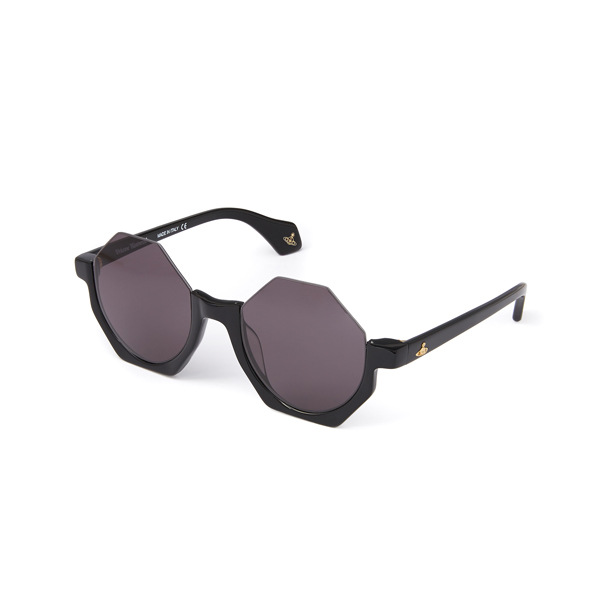 Women Vivienne Westwood BLACK HALF FRAME HEXAGON SUNGLASSES VW941S1BLG Outlet Online