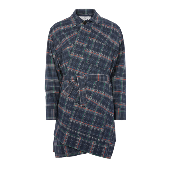 Women Vivienne Westwood BUILDER COAT BLUE FAULTY CHECK Outlet Online