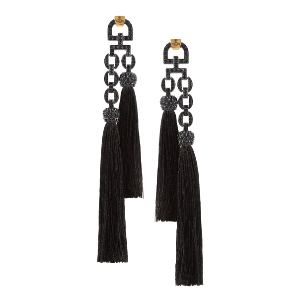 Women Vivienne Westwood ELECTRA TASSEL SMALL EARRINGS BLACK Outlet Online