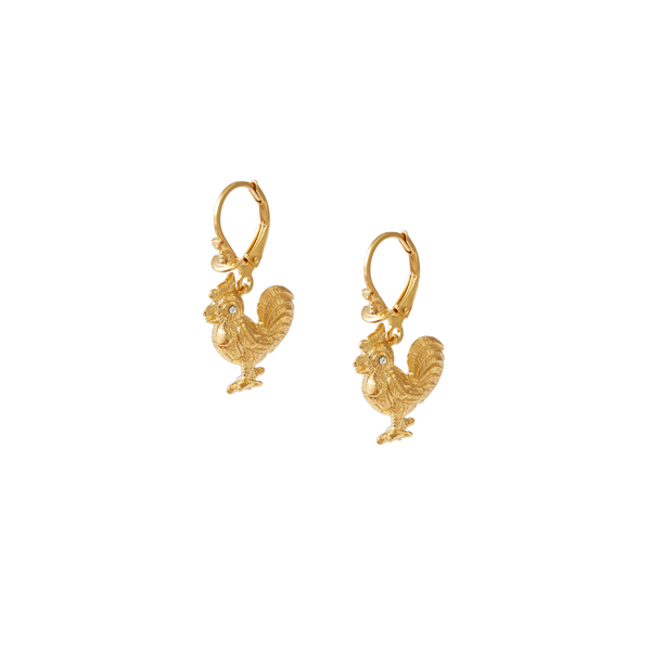 Women Vivienne Westwood STERLING SILVER ROOSTER EARRINGS GOLD Outlet Online