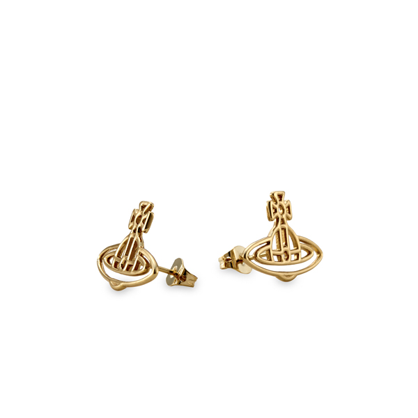 Women Vivienne Westwood THIN LINES FLAT ORB STUD EARRINGS GOLD Outlet Online