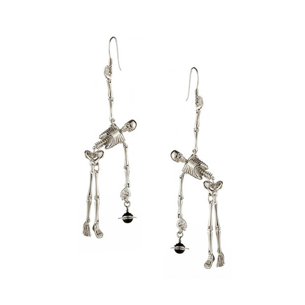 Women Vivienne Westwood SKELETON EARRINGS SILVER Outlet Online