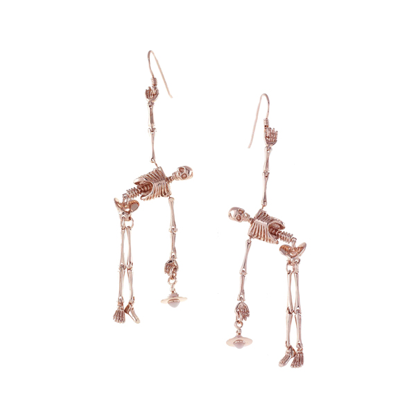 Women Vivienne Westwood SKELETON EARRINGS ROSE GOLD Outlet Online