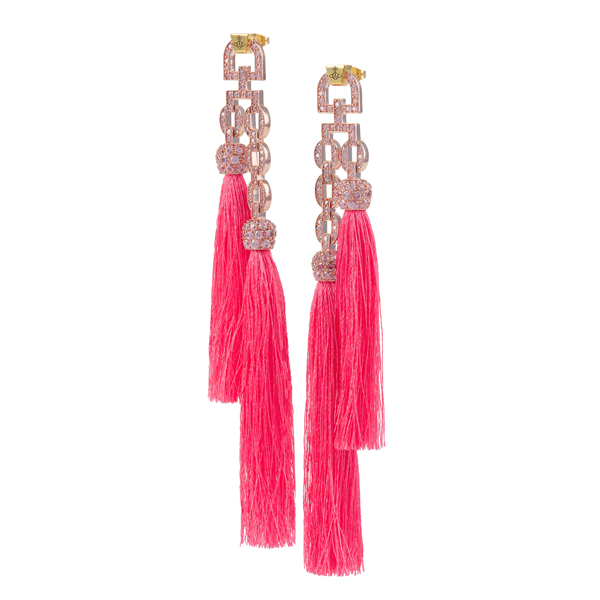 Women Vivienne Westwood ELECTRA TASSEL SMALL EARRINGS PINK Outlet Online