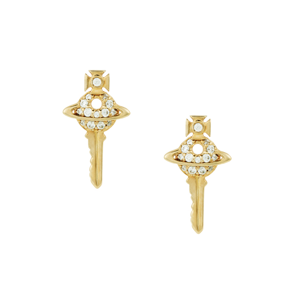 Women Vivienne Westwood DARIANNE PETITE KEY EARRINGS GOLD Outlet Online