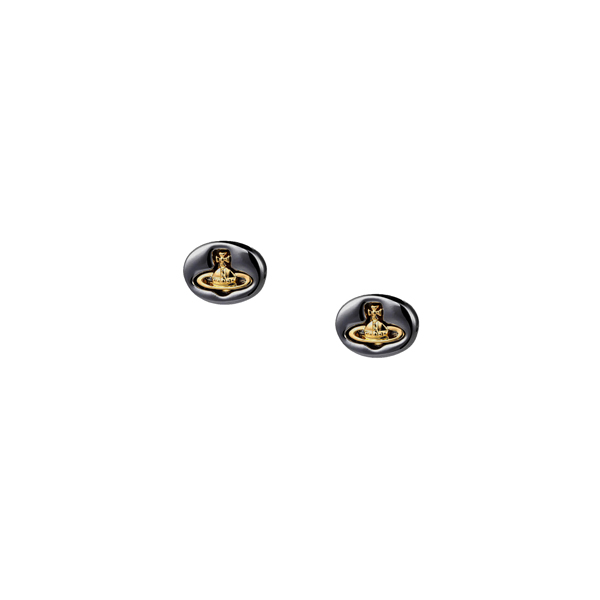 Women Vivienne Westwood EMBOSSED LOGO STUD EARRINGS GUNMETAL Outlet Online