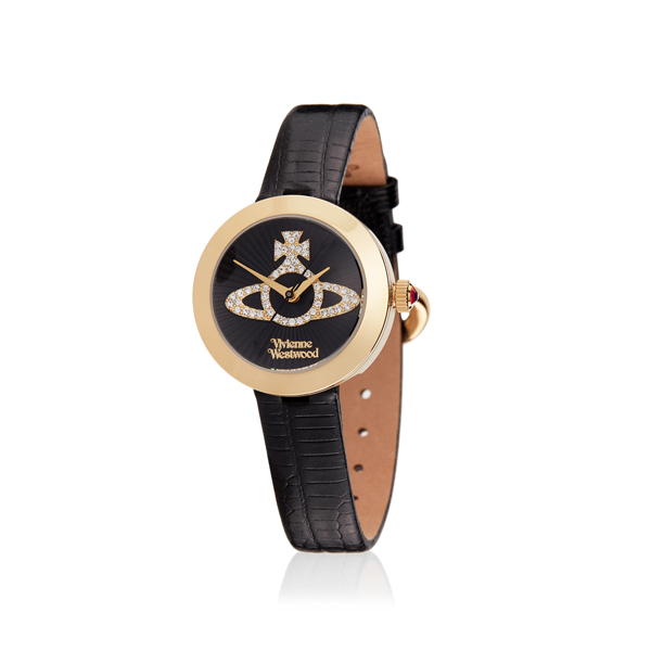 Women Vivienne Westwood BLACK/GOLD QUEENSGATE WATCH Outlet Online