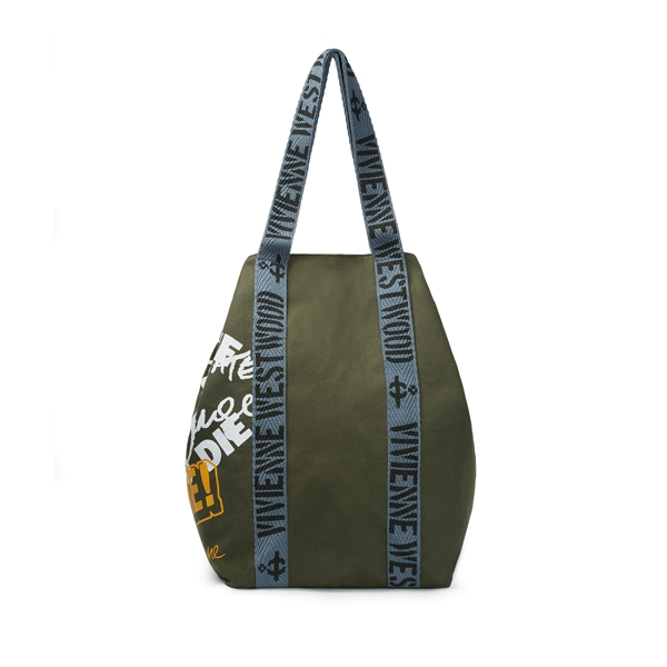 Men Vivienne Westwood RUNNER HOLDALL TOO FAST TO LIVE GREEN Outlet Online