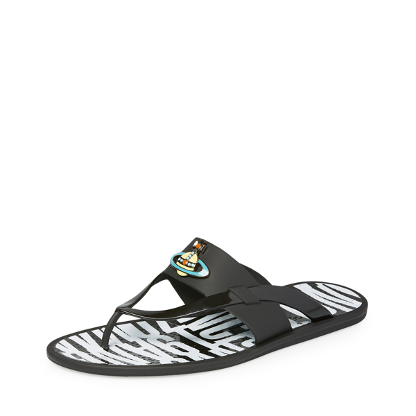 Men Vivienne Westwood ORB ENAMELLED SANDAL BLACK Outlet Online
