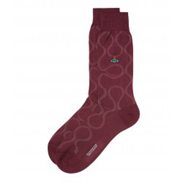 Men Vivienne Westwood BORDEAUX SQUIGGLE SOCKS Outlet Online