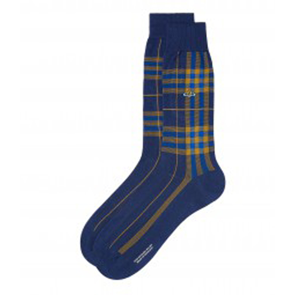 Men Vivienne Westwood BLUE CHECK SOCKS Outlet Online