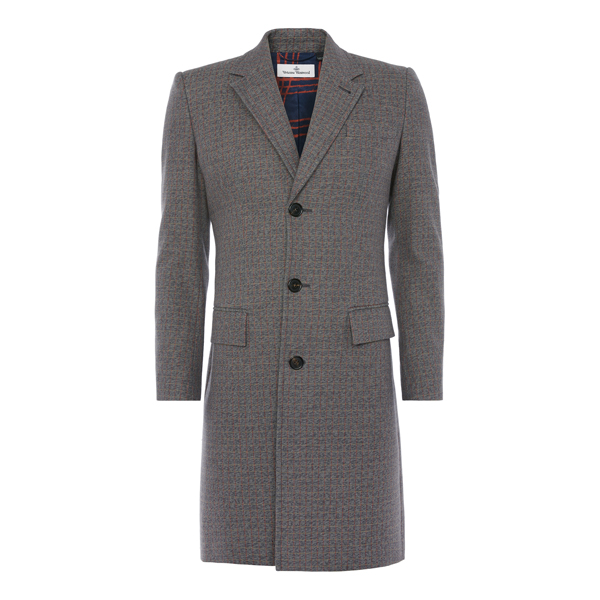 Men Vivienne Westwood CITY COAT GREY CHECK Outlet Online