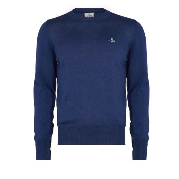 Men Vivienne Westwood CLASSIC ROUND NECK JUMPER BLUE Outlet Online