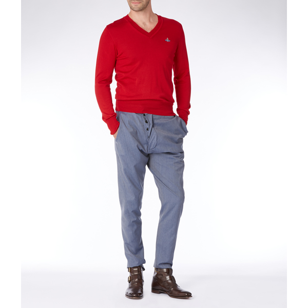 Men Vivienne Westwood CLASSIC V-NECK JUMPER RED Outlet Online