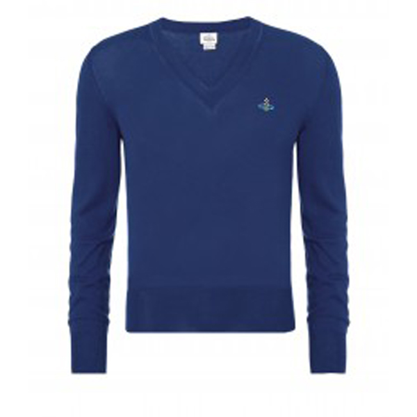 Men Vivienne Westwood CLASSIC V-NECK JUMPER BLUE Outlet Online