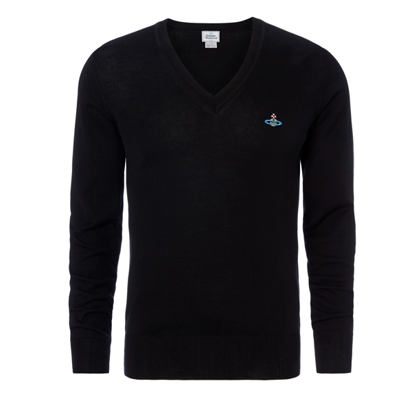 Men Vivienne Westwood CLASSIC V-NECK JUMPER BLACK Outlet Online