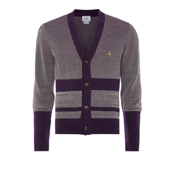 Men Vivienne Westwood RAW CARDIGAN PURPLE AND OFF WHITE Outlet Online