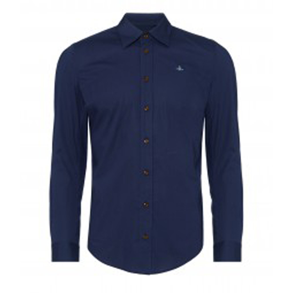 Men Vivienne Westwood CLASSIC STRETCH SHIRT NAVY Outlet Online
