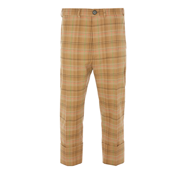 Men Vivienne Westwood CROPPED JAMES BOND TROUSERS CAMEL CHECK Outlet Online