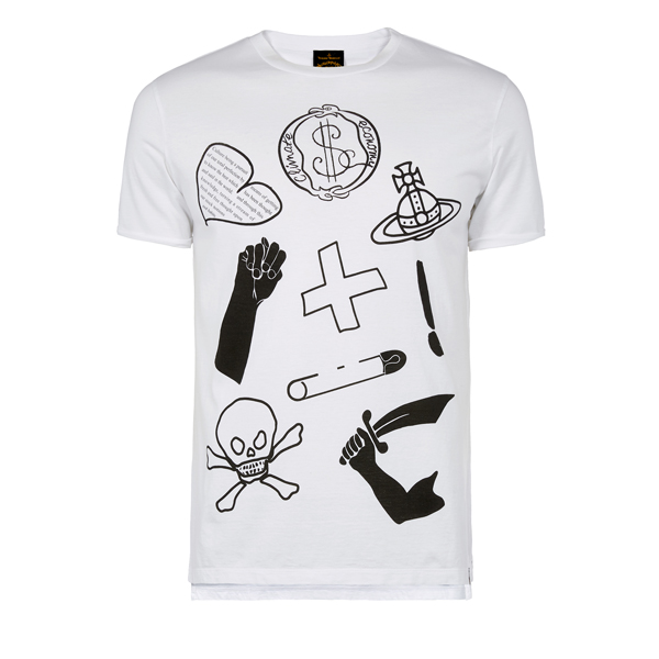 Men Vivienne Westwood WHITE CLASSIC T-SHIRT LOGO MIX Outlet Online