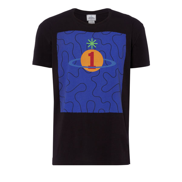 Men Vivienne Westwood SQUIGGLE ORB T-SHIRT BLACK Outlet Online